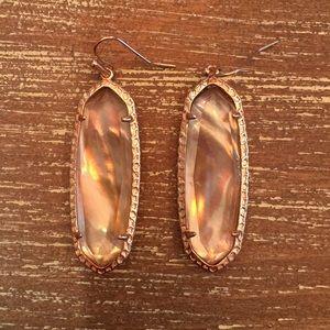 Kendra Scott Rose Gold iridescent pink earrings
